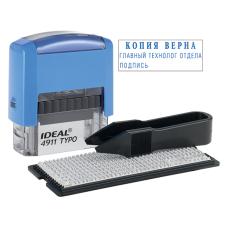 Ideal 4911/DB TYPO РУС Самонаборный штамп, корпус синий